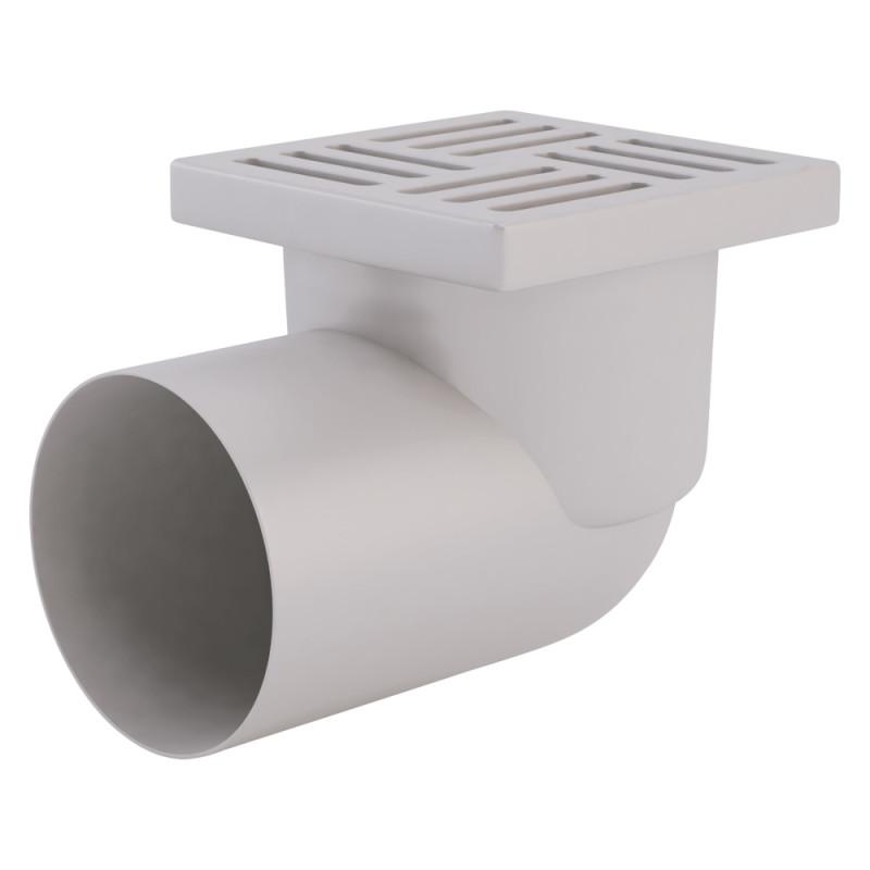 Трап ANI Plast TA1110 горизонтальный с пластиковой решеткой 150х150