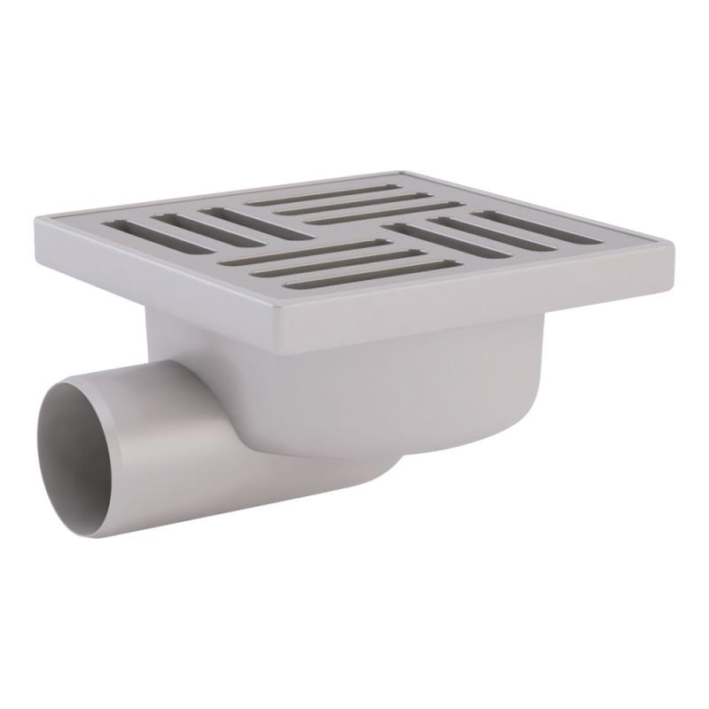 Трап ANI Plast TA5112 горизонтальный с нержавеющей решеткой 150х150