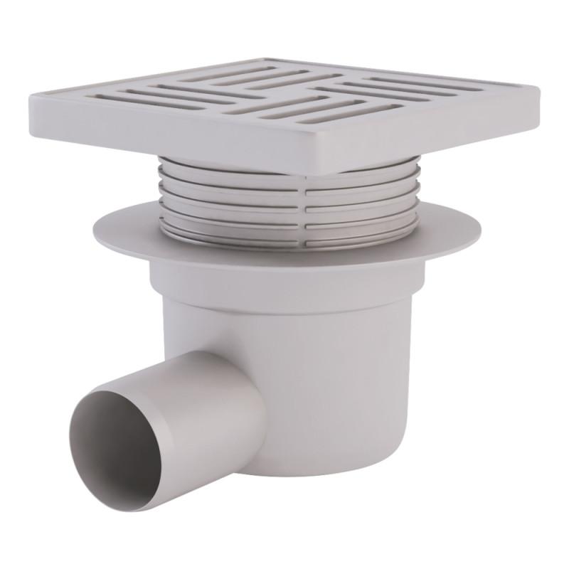 Трап ANI Plast TA5610 горизонтальный с пластиковой решеткой 150х150