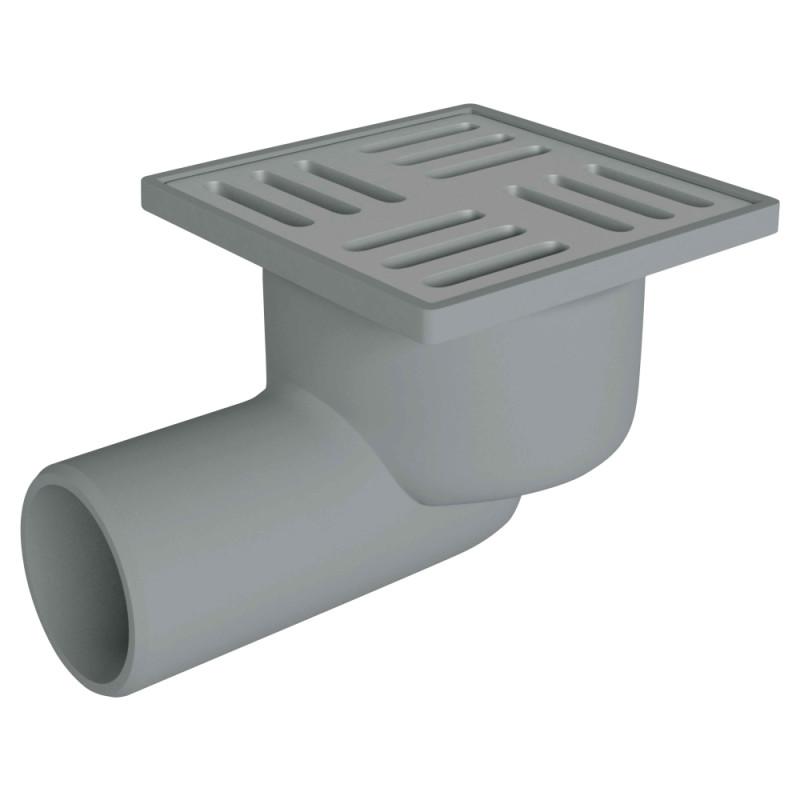 Трап ANI Plast TQ5102 горизонтальный с нержавеющей решеткой 100x100