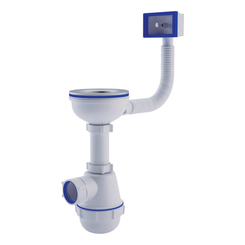 АНИ Сифон (А0145S) для кухни, выпуск 115 мм с гибким переливом (выход 50 мм)