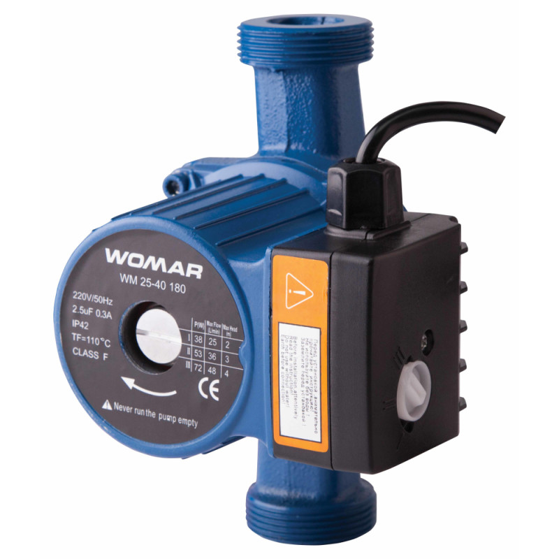 Насос циркуляционный WOMAR 25/60/180 ( гайки + кабель с вилкой )