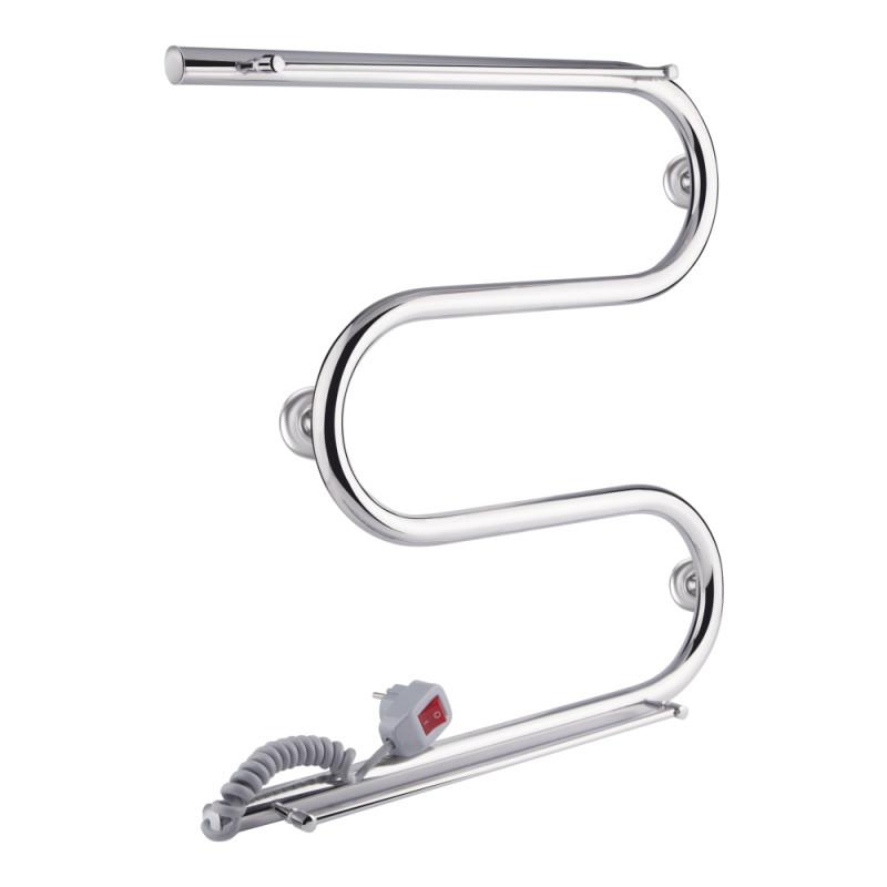 Полотенцесушитель электрический Q-tap Snake shelf (CRM) 500x500 LE с полотенцедержателем