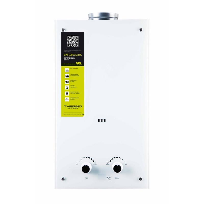 Колонка газова димохідна Thermo Alliance JSD20-10GD 10 л скло (біле)