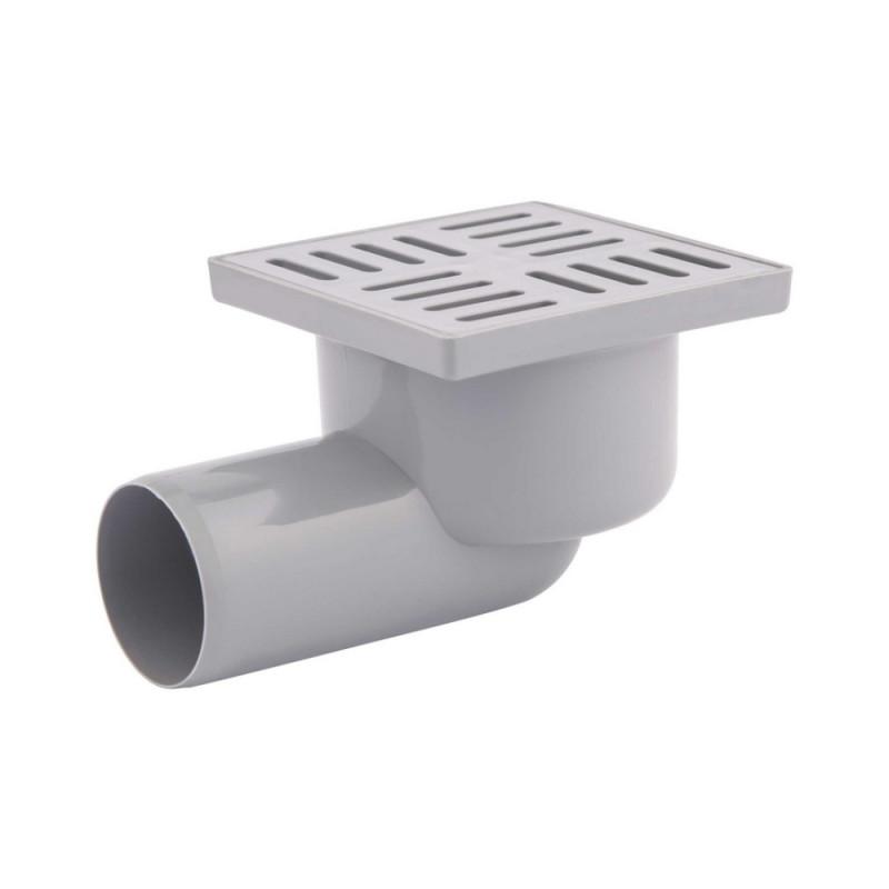 Трап Krono Plast TA5104 горизонтальный с пластиковой решеткой 100х100