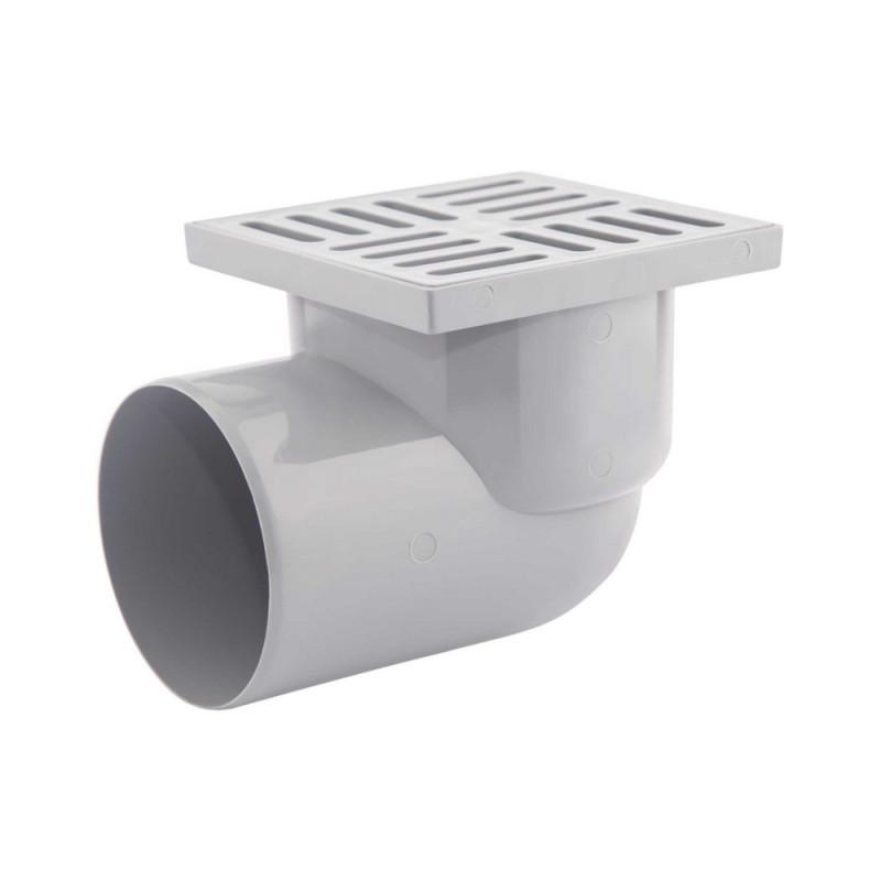 Трап Krono Plast TA1110 горизонтальный с пластиковой решеткой 150х150