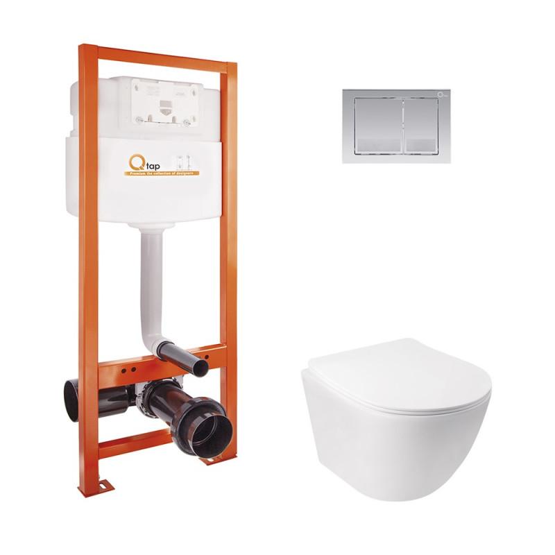 Набор Qtap инсталляция Nest QTNESTM425M06CRM + унитаз с сиденьем Jay QT07335176W