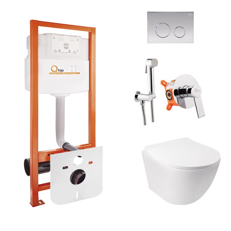 Комплект Q-tap унитаз с сиденьем Jay WHI 5176 + инсталляция Nest M425-M11CRM + набор для гигиенического душа со смесителем Form 001AB