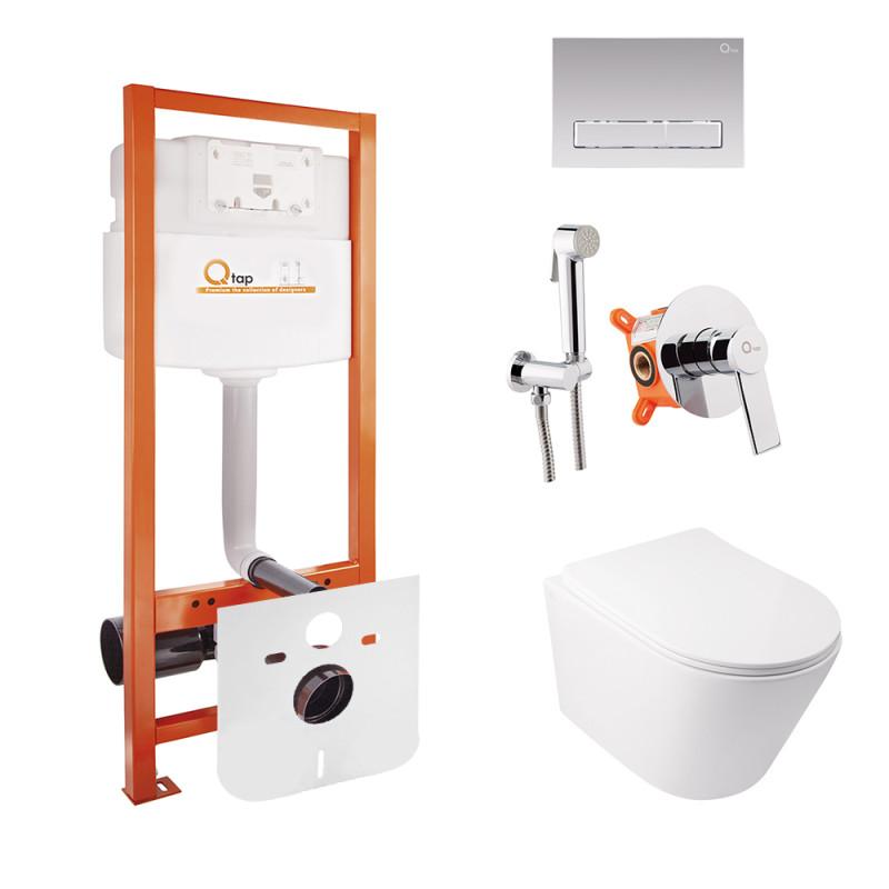 Комплект Q-tap унитаз с сиденьем Swan WHI 5178 + инсталляция Nest M425-M08CRM + набор для гигиенического душа со смесителем Form 001AB
