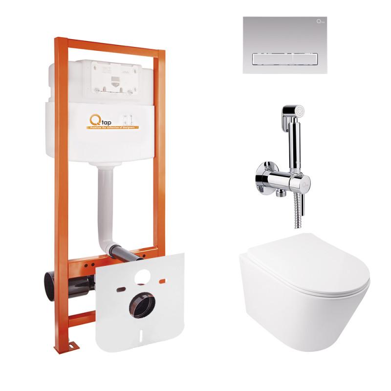 Комплект Q-tap унитаз с сиденьем Swan WHI 5178 + инсталляция Nest M425-M08CRM + набор для гигиенического душа со смесителем Inspai-Varius V00440001 CRM