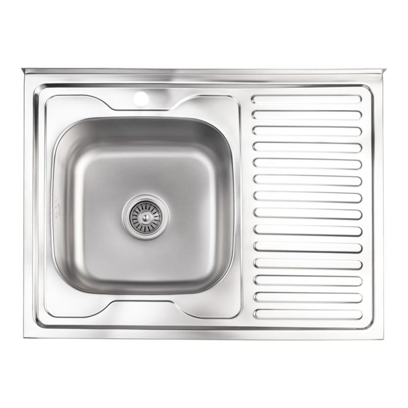 Кухонная мойка Lidz 6080-L Satin 0,8 мм (LIDZ6080LSAT8)
