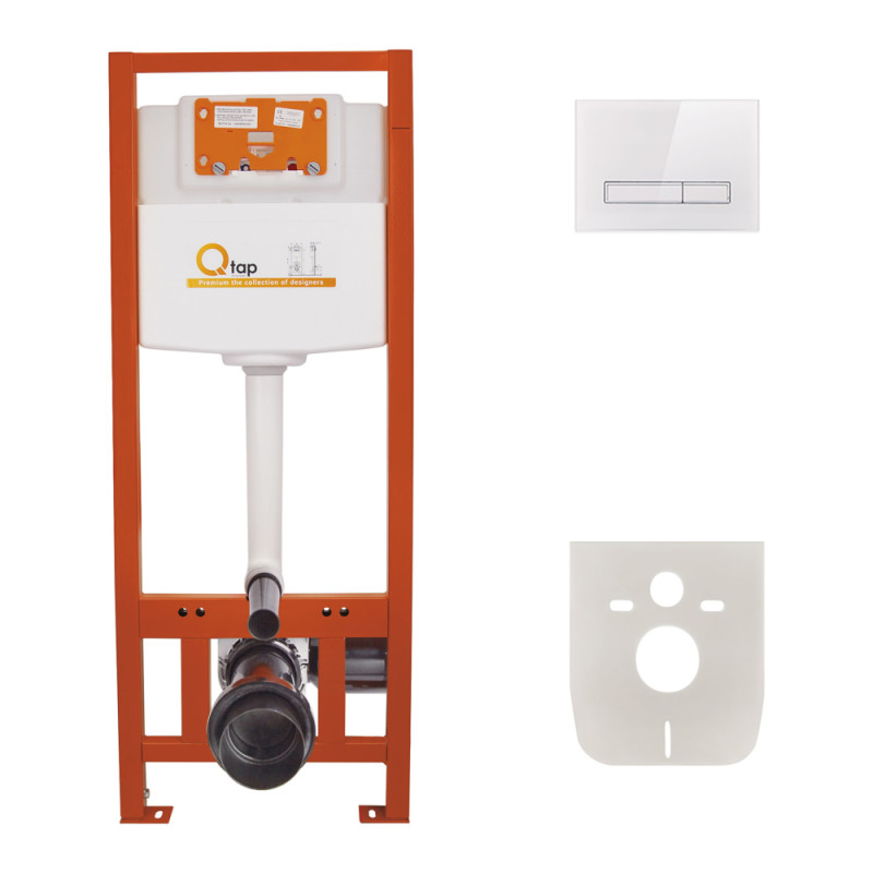 Инсталляция для унитаза Q-tap Nest M425 ST комплект 4 в 1 с панелью смыва PL M08GLWHI
