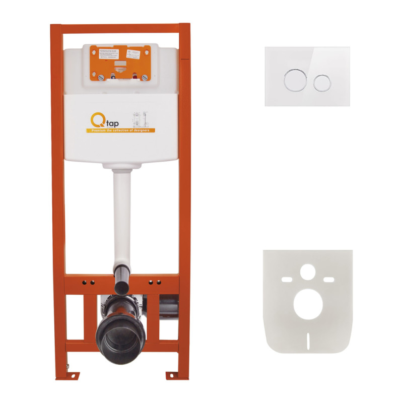 Инсталляция для унитаза Q-tap Nest M425 ST комплект 4 в 1 с панелью смыва PL M11GLWHI