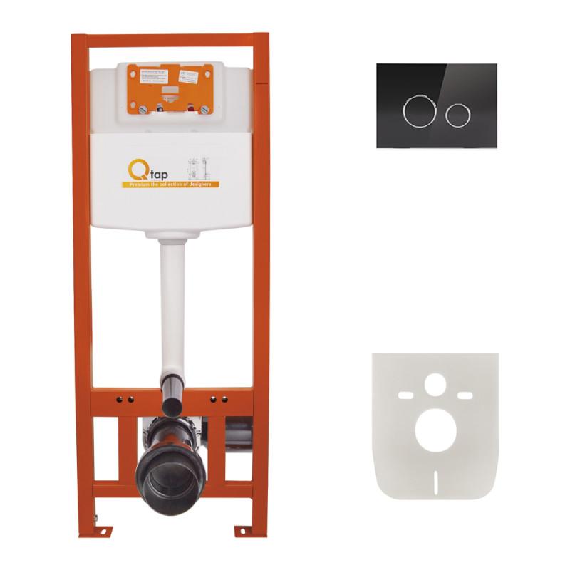Инсталляция для унитаза Q-tap Nest M425 ST комплект 4 в 1 с панелью смыва PL M11GLBLA