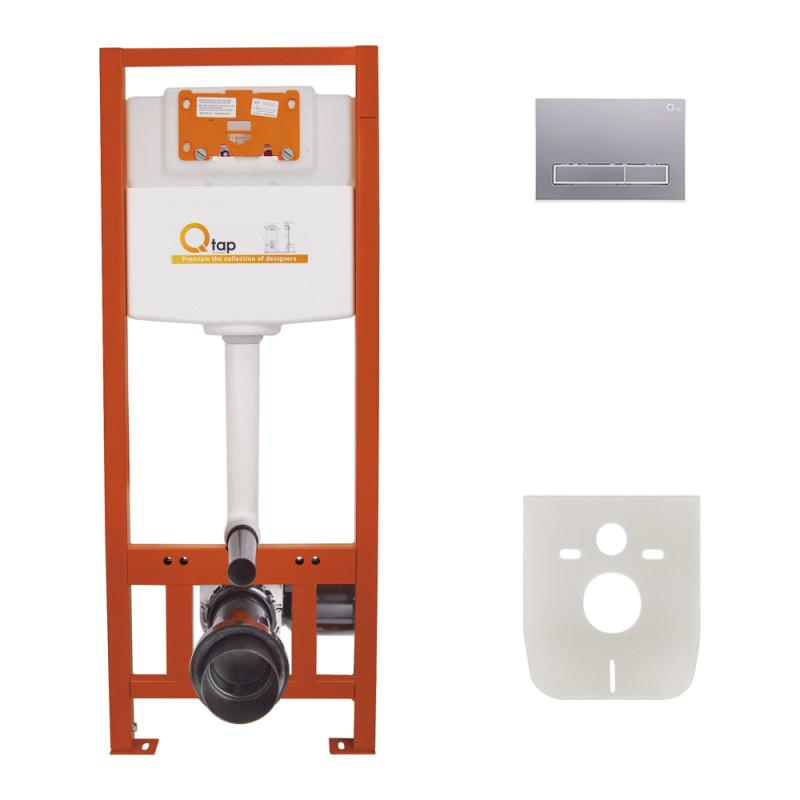 Инсталляция для унитаза Q-tap Nest M425 ST комплект 4 в 1 с панелью смыва PL M08SAT