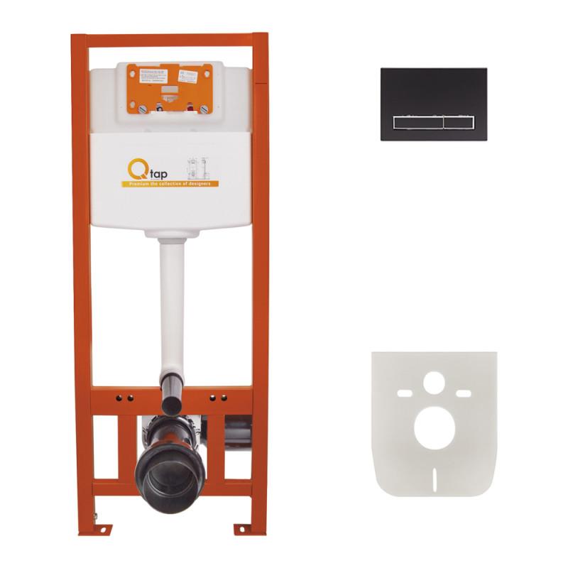 Инсталляция для унитаза Q-tap Nest M425 ST комплект 4 в 1 с панелью смыва PL M08MBLA