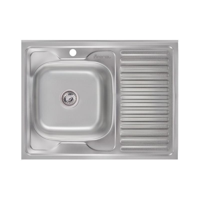Кухонная мойка Imperial 6080-L 0,8мм Satin + сифон (накладная)
