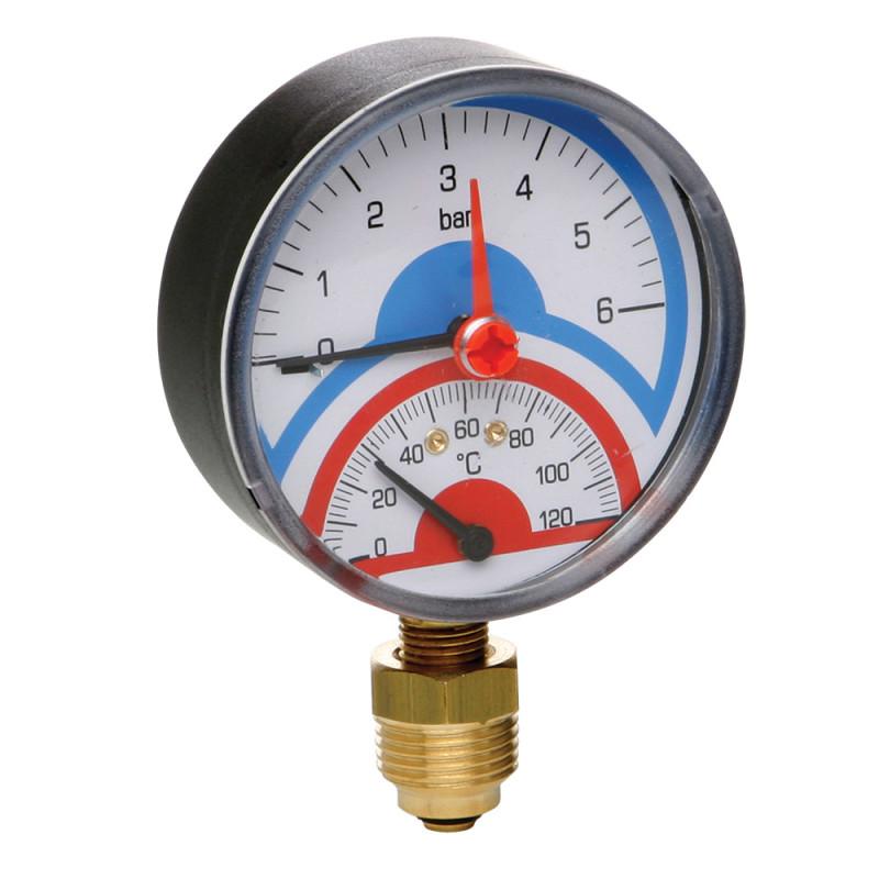 """Термоманометр із запірним клапаном Ø1/2"""" (0-6 бар) """"Icma"""" Арт. 258"""