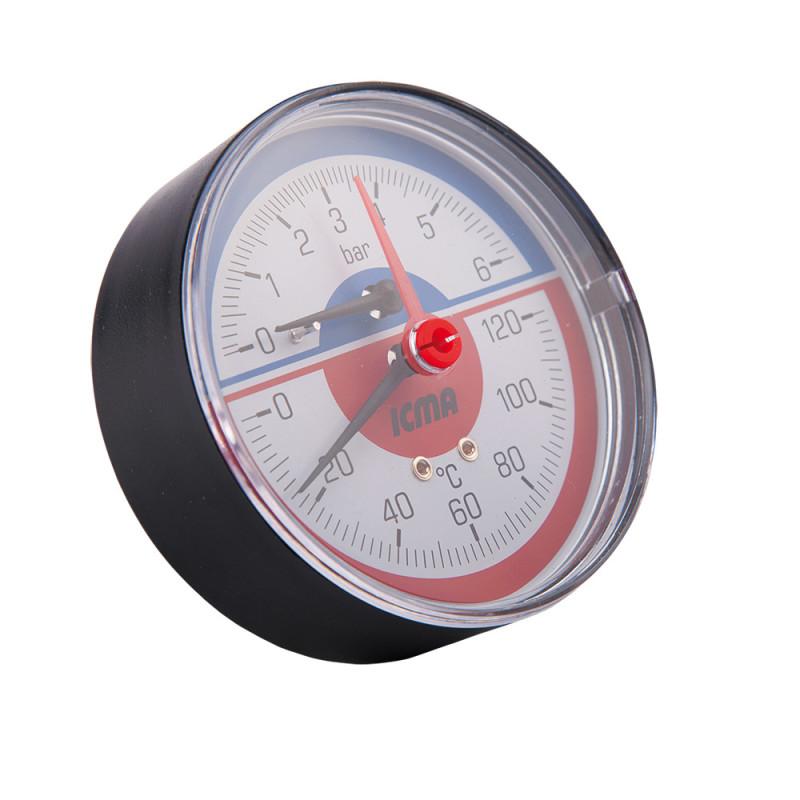 """Термоманометр із запірним клапаном Ø1/2"""" (0-6 бар) """"Icma"""" Арт. 259"""